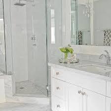 Corner Shower with Mosaic Marble Floor