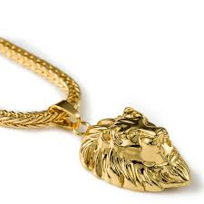 whole high quality 24k gold plated lion head kings pendants necklace hip hop fashion rap golden crucifixio pendant lion animals chain necklace heart
