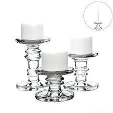 candle holders glass classic glass candlesticks pillar and taper candle of 3 glass hurricane candle holders