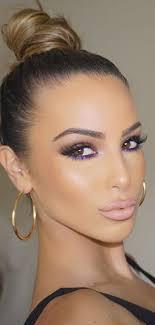 bright purple eyeliner with brown eye shadow
