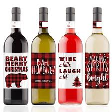 Wine Bottle Stickers Christmas Wine Bottle Stickers 4 Count Buffalo Plaid Christmas