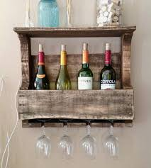 Reclaimed Wood Wine Cabinet Small 4 Bottle Reclaimed Wood Wine Rack With Shelf Home Kitchen
