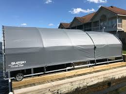 we have engineered a modular boat dock awning made of marine grade aluminum designed to cover all sides of your boat or jetskis allowing for easy access