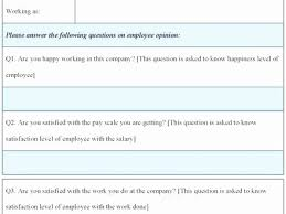 Employee Satisfaction Survey Form Template Impressive Employee ...
