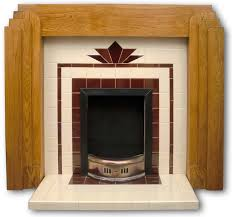 a fireplace with a fan design inspired by a stained glass window from a 1930s house