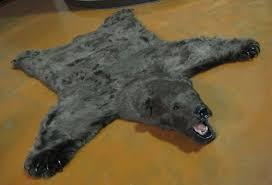 wool faux bearskin rug with head