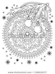 Christmas Mandala Coloring Page Adult Coloring Stock Vector Royalty