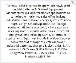 Technical Sales Engineer, Usa Battery, Llc, Frederick, Md