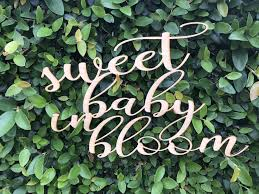 custom wooden words cursive natural wood sign sweet baby in bloom sign love wreath board dessert table welcome baby shower birthday home dec