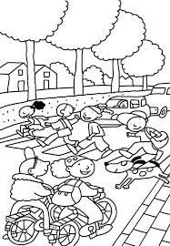 Thema Verkeer Kleurplaat Fiets Thema Verkeer Drawing For Kids