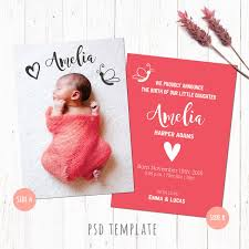 Template For Birth Announcement Birth Announcement Template Card Baby Girl Birth Card