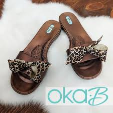 Oka B Madison Bronze Slides With Leopard Bow