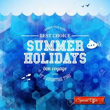 夏デザイン夏休みのポスター六角形の背景と文字体裁デザイン