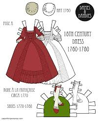 an 18th century paper doll dress based on a 1770 robe à la française with a