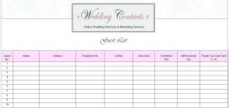 Wedding Contact List Template Guest Address Excel – Template Gbooks