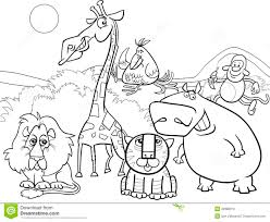 Safari Animals Template Wild Animals Group Coloring Page Stock Vector Illustration