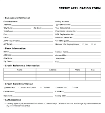 Generic Credit Application Template Reference Form Ooojo Co