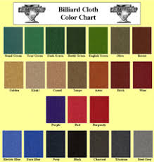 All Star Pool Table Services Llc Felt Cloth Color Chart
