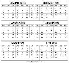 Six Monthly November 2019 To April 2020 Calendar Printable