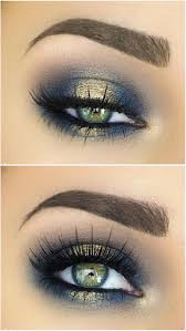 spotlight halo smokey eye in navy blue gold hooded eye makeup diagram