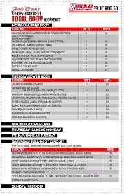 Jamie Eason Total Body Chart Fitness Gym Workouts