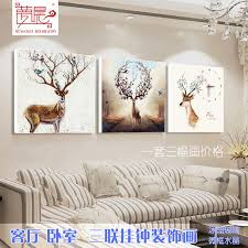 Living Room Decorative Painting Triple Frameless Painting Wall Clock Bedroom  Sofa Background Wall Painting Crystal Painting ...
