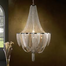 12 light silver chain empire style chandelier