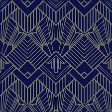 navy blue art deco wallpaper