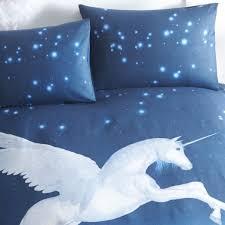 portfolio unicorn duvet cover set blue