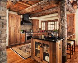 Rustic Counter Stools Kitchen Wood Trim Windows Kitchen Rustic With Log Ceiling Beams Square