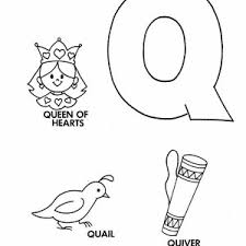 Small Picture Learning Letter Q Coloring Page for Preschool Kids Bulk Color