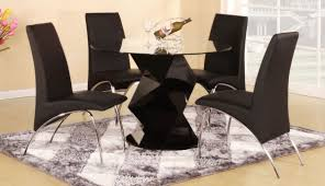 modern black round dining table. Modern Round Black High Gloss Clear Glass Dining Table And 4 Chairs Set T