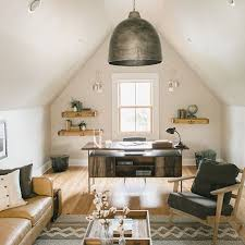 attic office ideas. attic home office space with a large tin pendant lighting fixture hanging above the desk ideas t