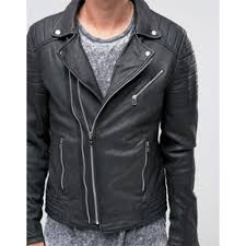 leather biker jacket asymmetric double zip in black for mens