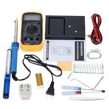 10pcs 60w diy electric soldering iron tools kit tin wire desoldering pump multimeter tweezers sponge 11street malaysia fastening gluing soldering