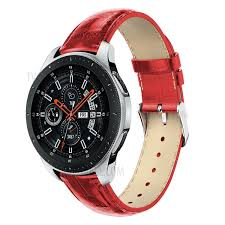 22mm crocodile texture genuine leather watch band replacement for samsung galaxy watch 46mm red
