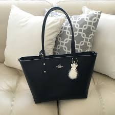 Coach city zip tote in crossgrain leather in midnight