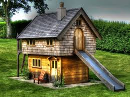 lawn garden wonderful simple wood brown garden playhouse design inspiration with cream chimney and