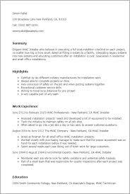 Gallery Of Hvac Resume Sample Entry Level Hvac Technician Training