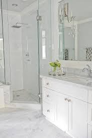 white floor tiles bathroom. Light Grey Floor Tiles, White Vanity, Quartz Countertop, Stacked Wall  Tiles With Accent And Niche. Cabinet - Strasser..Finial Kohler Faucet Bathroom H