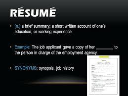 experience synonym resume 7611