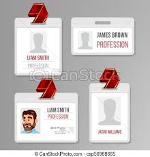 Identification Badge Set Vector Id Card Blank Name Template Profile Holder Employee Identity Human Badge Design Person Isolated Illustration