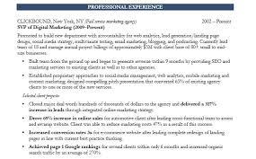marketing executive write up a resume