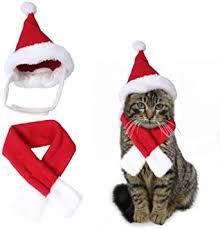 Cute <b>Santa Hat</b> & Scarf <b>Xmas</b> Red Costume Suit Dress Up for <b>Pet</b> ...