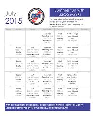 July Youth Events Calendar Uscg Base Cape Cod Mwr