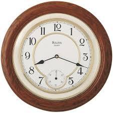 bulova 14 in solid oak wall clock