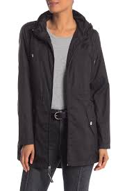 image of vince camuto solid zip front hooded jacket