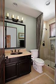 Bathroom:Stunning Guest Bathroom Design Idea With Geometric Curtain And  Vintage Vanity Create Guest Bathroom