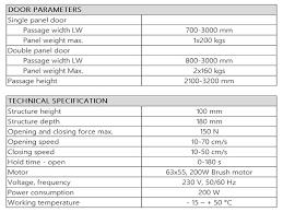 es200 automatic sliding door operator specification