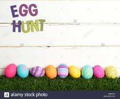Easter Egg Hunt Invite With Colorful Dyed Eggs In A Line On